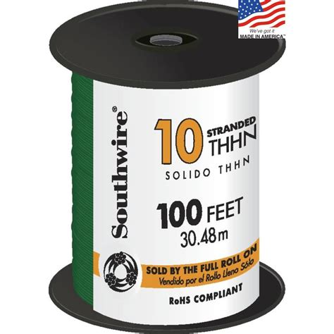 shop southwire 100 ft 10 awg stranded green copper thhn