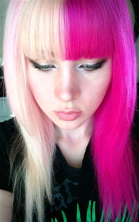 hot hues hairstyles 17 half and half hair colors that prove two hues are