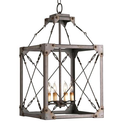4 Pendant Light Fixture Salvage Metal Box Industrial Loft Lantern 4 Light Pendant Fixture Kathy Kuo Home