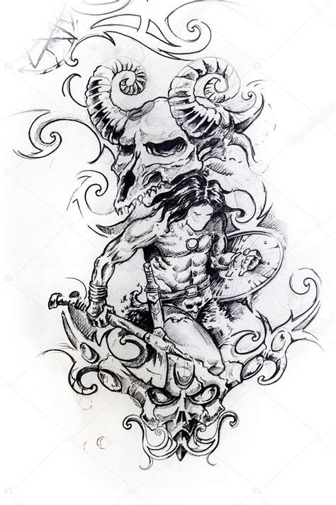 viking warrior sketch of tattoo stock photo