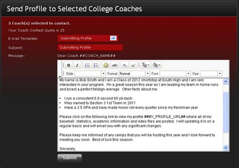 Email Templates For College Coaches Get My Name Out Coaching Email Template