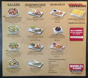 Noodles And Company Noodles And Company Carry Out Menu Chicago