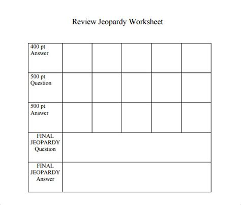 Jeopardy Game Template 7 Download Documents In Pdf Ppt Sle Templates Jeopardy Template For Teachers