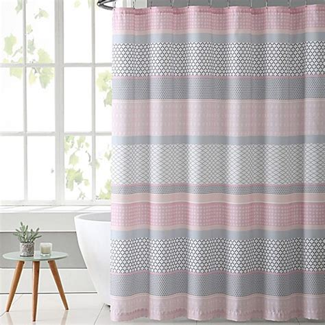 gray and pink curtains vcny home stockholm shower curtain in pink grey bed bath beyond