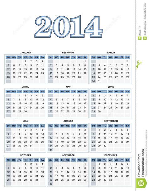 Calendario Americano American Calendar 2014 In Vector Royalty Free Stock