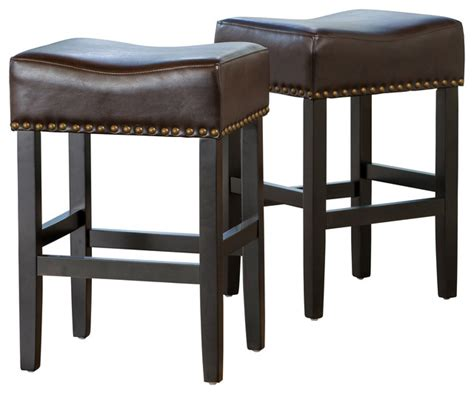 counter height leather bar stools chantal leather stools set of 2 brown counter height