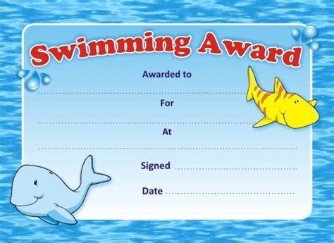 swimming certificates templates swimming award certificates co uk office products