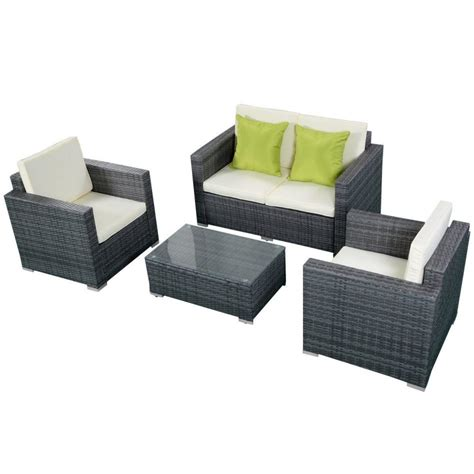 Furniture Pc Rattan Patio Furniture Set Garden Lawn Sofa Grey Wicker Patio Furniture