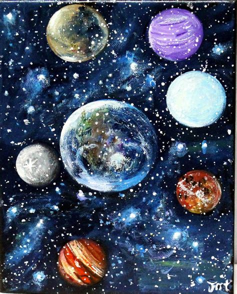 acrylic painting space planets painting original acrylic painting on by