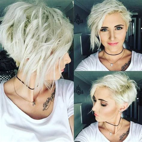 growing out asymmetrical pixie into bob platinum blonde asymmetrical wavy pixie messy layers