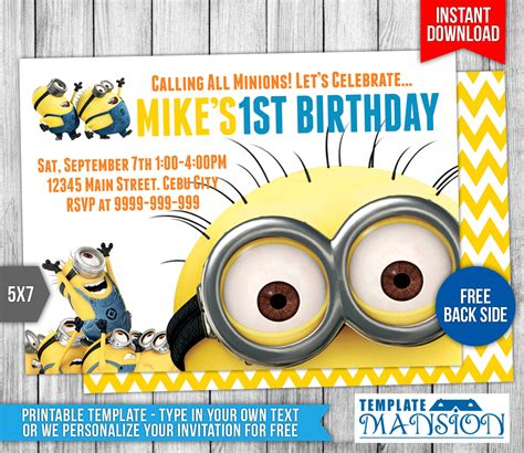 Minions Birthday Invitation 6 By Templatemansion On Deviantart Minion Birthday Invitations Templates Free