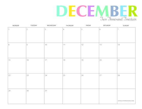 printable calendar october november december 2014 free printable colorful 2014 calendars by shining mom