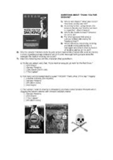 printable smoking quiz english teaching worksheets thank you for smoking