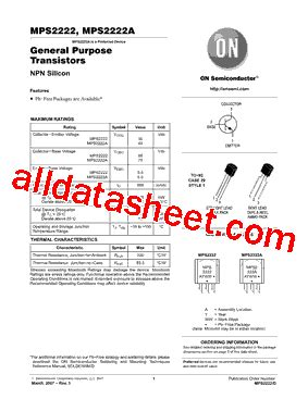 transistor mps2222a datasheet mps2222a datasheet pdf on semiconductor