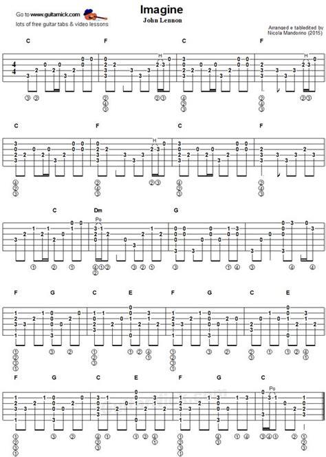 fingerstyle arrangement tutorial imagine fingerstyle guitar tablature music pinterest