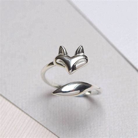sterling silver fox wrap ring by