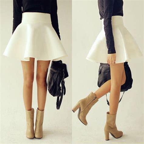 Pleated Plain Mini Skirt high waist plain skater flared pleated stretch