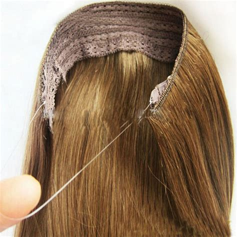 human hair invisible line extension 140g hidden invisible wire in weft remy 100 human hair