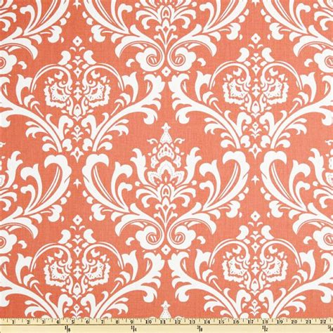 coral damask fabric by the yard home decor upholstery curtain