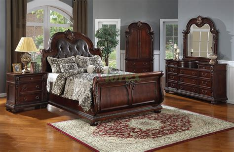 sleigh bedroom furniture set with leather headboard 119