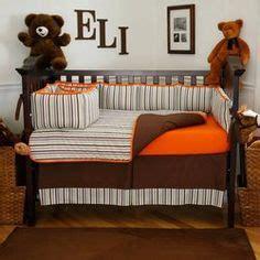 Aqua Blue And Orange Nursery Crib Bedding Modern Brown And Orange Crib Bedding