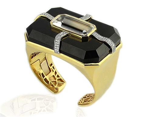 Lust Alert Gold And Cuff By Kara Ross by Black Onyx Luxury Onyx Jewellery Starring The Midnight