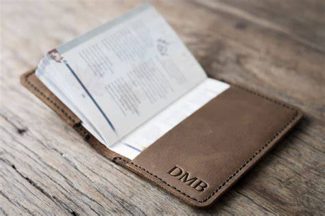 personalized passport holder leather personalized leather passport holder