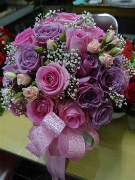 hand buket bulat ungu toko bunga  purwokerto rina