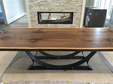 live edge black walnut dining table live edge black walnut dining table with half moon base