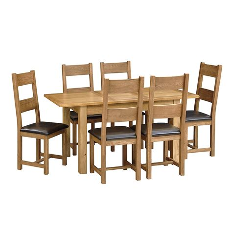 oak extendable table and 6 chairs prd furniture