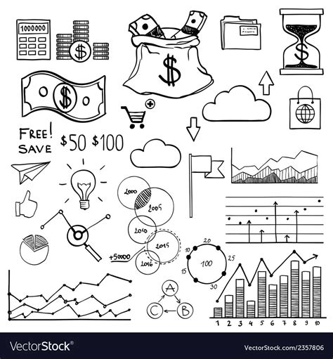 doodle elements draw doodle elements money and coin icon vector image