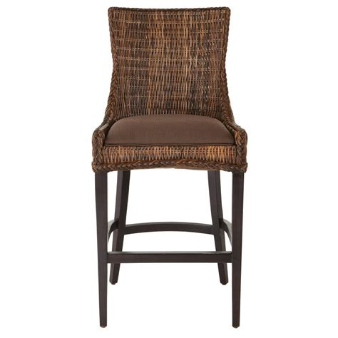 Brown Wicker Bar Stools by Bar Stool Chair Brown Weave Wicker Olefin Cushion Seat