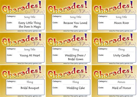 printable bridal shower charades 7 best images of printable charades rules kids charades