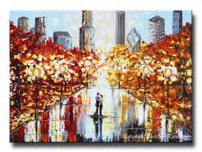 Painting For Home Decor Giclee Print Art Abstract Painting Couple City Park Dance