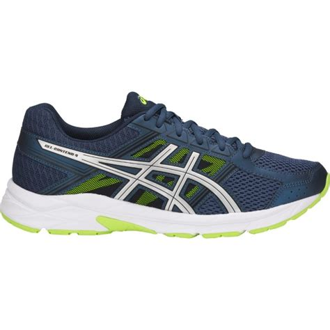 asics gel contend 4 mens running shoes blue silver safety yellow sportitude