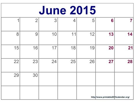 printable monthly calendar for june 2015 8 best images of printable june 2015 calendar march 2015
