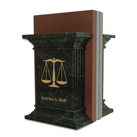 personalised office desk gifts personalized green marble lawyer bookends with scales of