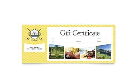 graphic design gift card template golf resort gift certificate template design