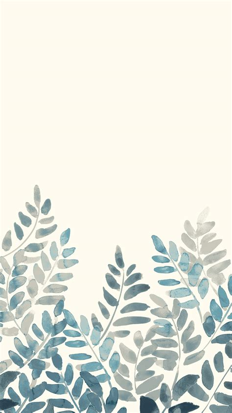 watercolor fern mobile wallpaper front main