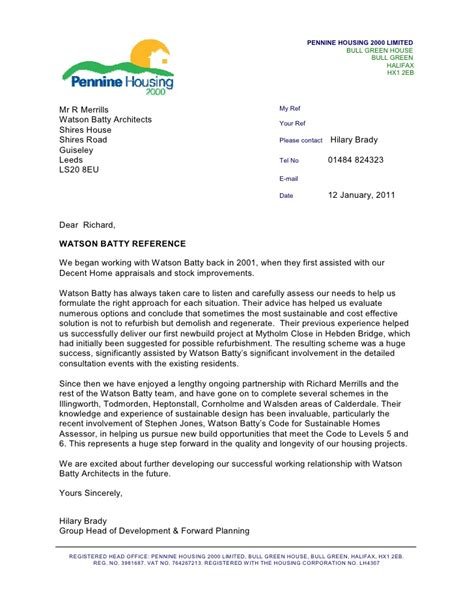 Letter For Housing Pennine Housing 2000 Reference Letter