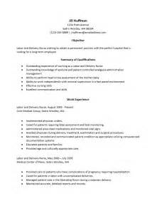 free labor and delivery resume template sle
