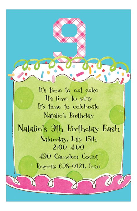 9th birthday card template ninth birthday invitation polka dot design
