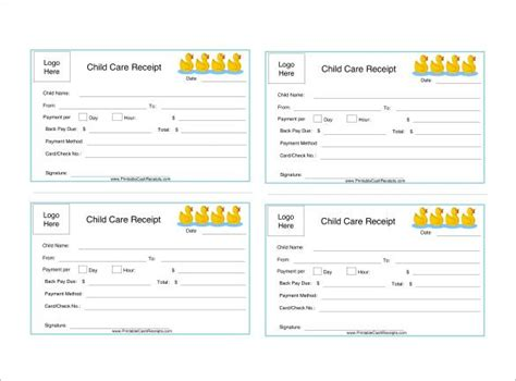 Babysitting Receipt Template by Daycare Receipt Template 12 Free Word Excel Pdf