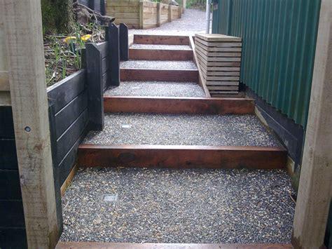 Macrocarpa Sleepers by Concrete With Macrocarpa Sleepers Backyard 28 Images Walling David Greaves Landscape Design