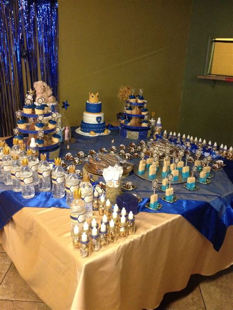 Royal Blue And Gold Baby Shower Ideas by Royal Prince Baby Shower Desert Table Pins Cool Stuff I