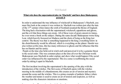 Macbeth Supernatural Essay by What Does The Supernatural Play In Macbeth Gcse Marked By Teachers