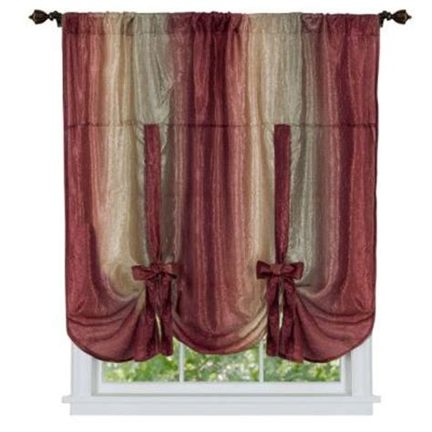 achim burgundy ombre tie up shade curtain 50 in w x 63 in l omtu63bu06 the home depot