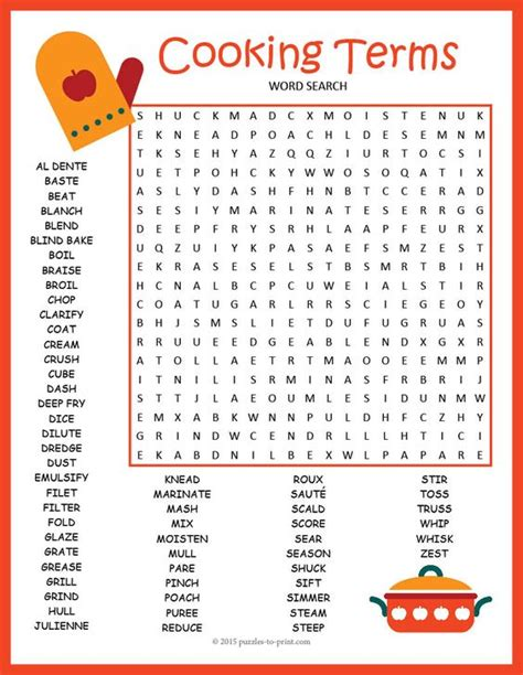 Cooking Vocabulary Worksheet by Cooking Terms Word Search Puzzle Early Finishers Activities And Cooking