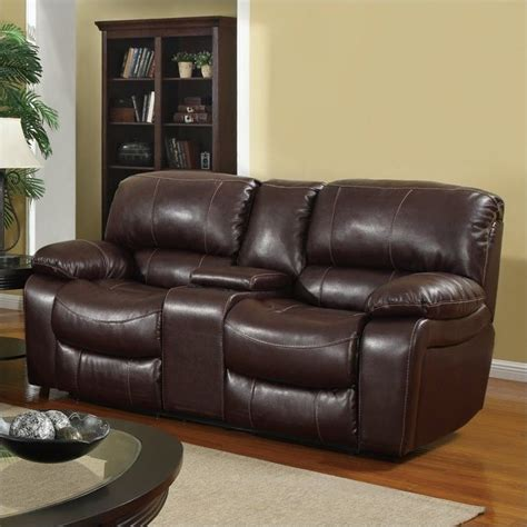 global furniture usa leather console reclining loveseat in