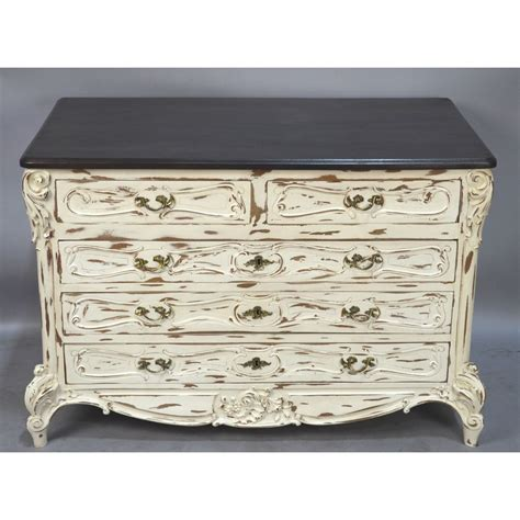 Vintage White Chest Of Drawers by Antique White Painted Distressed Louis Xv Country Chest Of Drawers Musing Antiques Llc